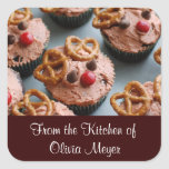 Christmas Reindeer Cupcakes Holiday Stickers