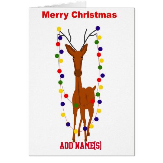 Christmas Reindeer customisable card