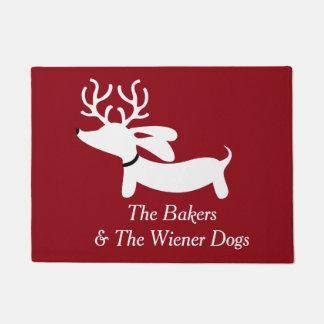 Christmas Reindeer Dachshund Wiener Dog Doormat