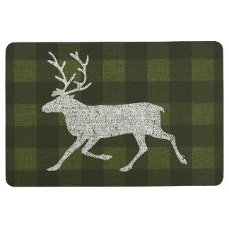 Christmas Reindeer Distressed Plaid Burlap Floor Mat