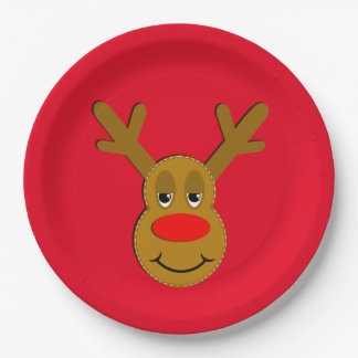 Christmas Reindeer Face Red Paper Plate