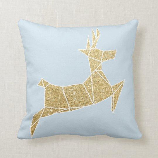 Christmas Reindeer Faux Gold Glitter Throw Cushion