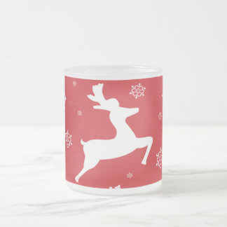 Christmas Reindeer Frosted Glass Coffee Mug