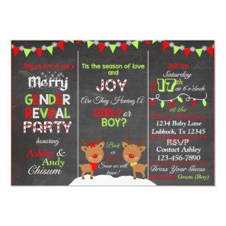 Christmas Reindeer Gender Reveal Invitation