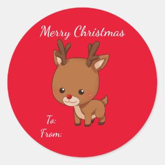 Christmas Reindeer Gift Tag Round Sticker