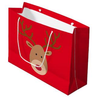 Christmas Reindeer Glossy Gift Bag