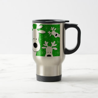 Christmas reindeer - green 2 travel mug