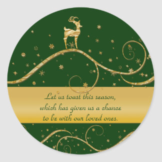 Christmas reindeer greetings classic round sticker