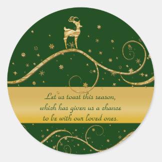 Christmas reindeer greetings round stickers