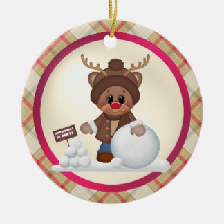 Christmas Reindeer Holiday cartoon ornament