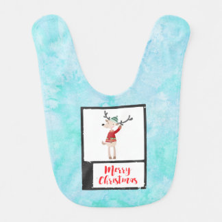 Christmas Reindeer In An Ugly Sweater Whimsical Bib