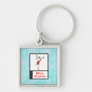 Christmas Reindeer In An Ugly Sweater Whimsical Silver-Colored Square Key Ring