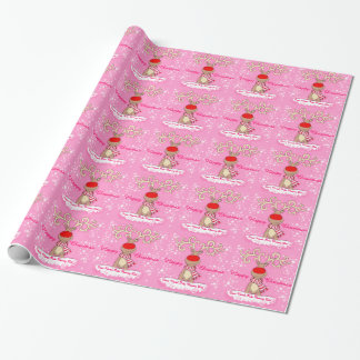Christmas reindeer in the snow pink holiday wrap wrapping paper