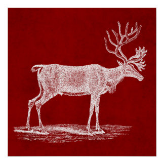 Christmas Reindeer on Red Crimson Parchment Color Poster