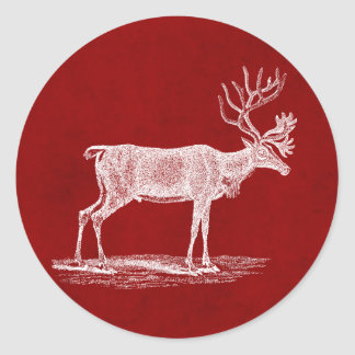 Christmas Reindeer on Red Crimson Parchment Color Round Sticker