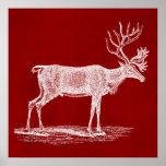 Christmas Reindeer on Red Crimson Parchment Colour