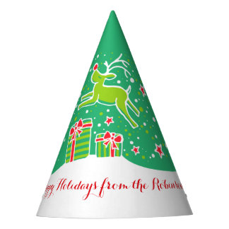Christmas reindeer over gifts green personalized party hat