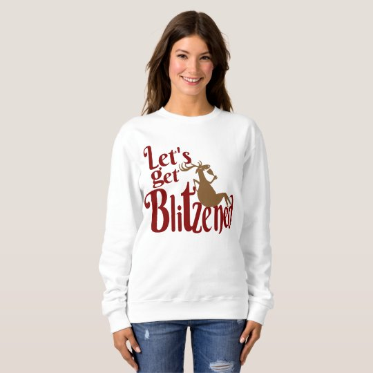 Christmas reindeer partying womens sweatshirt