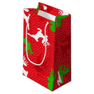 Christmas Reindeer Pattern Print Small Gift Bag