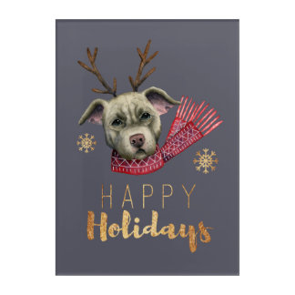 Christmas Reindeer Pit Bull with Faux Gold Fonts Acrylic Wall Art