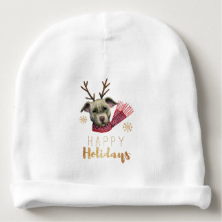 Christmas Reindeer Pit Bull with Faux Gold Fonts Baby Beanie