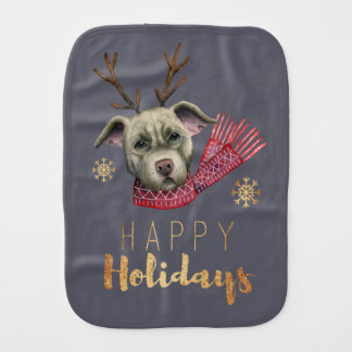 Christmas Reindeer Pit Bull with Faux Gold Fonts Burp Cloth