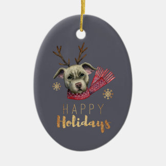 Christmas Reindeer Pit Bull with Faux Gold Fonts Christmas Ornament