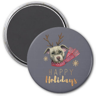 Christmas Reindeer Pit Bull with Faux Gold Fonts Magnet