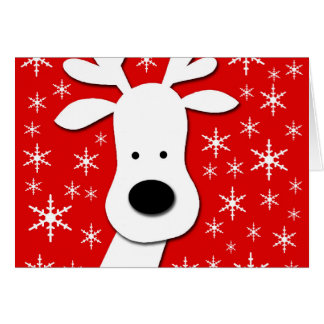 Christmas reindeer  - red greeting card