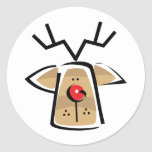 Christmas Reindeer Round Stickers