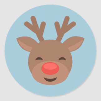 Christmas Reindeer Rudolf on Light Blue Round Sticker