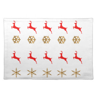 Christmas Reindeer Snowflake gold red Place Mats