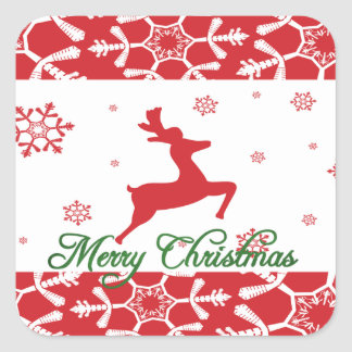 Christmas Reindeer Square Sticker