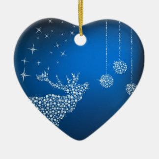 Christmas Reindeer & Stars Ceramic Heart Decoration