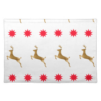 Christmas Reindeer Stars gold red Place Mats