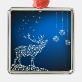 Christmas Reindeer & Stars Silver-Colored Square Decoration