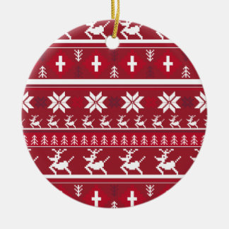 Christmas Reindeer Stripe Ornament