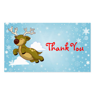 Christmas Reindeer Thank You Business Cards
