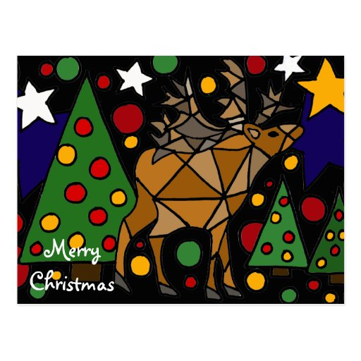 Christmas Reindeer, Trees, and Stars Abstract Art Post Cards