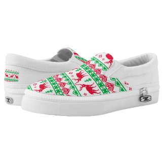 Christmas reindeer ugly sweater pattern shoes