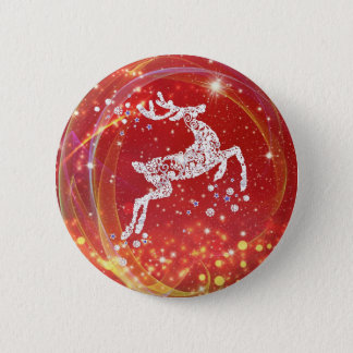 Christmas Reindeer with Sparkles 6 Cm Round Badge