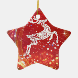 Christmas Reindeer with Sparkles Christmas Ornament