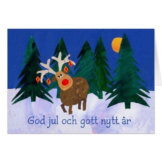 Christmas Reindeer with Swedish Greeting Card