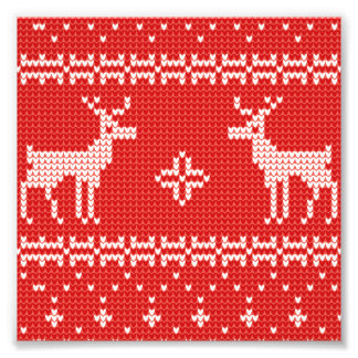 Christmas Reindeers Jumper Knit Pattern Photo Print