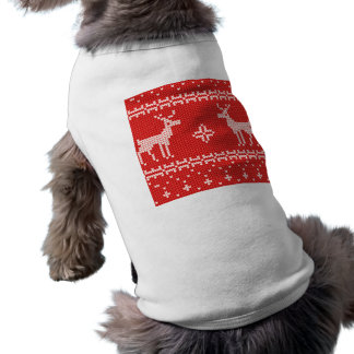 Christmas Reindeers Jumper Knit Pattern Sleeveless Dog Shirt