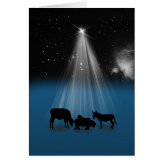 Christmas, Religious, Nativity, Stars, Card