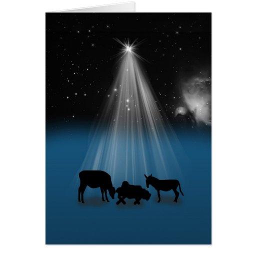 Christmas, Religious, Nativity, Stars, Card