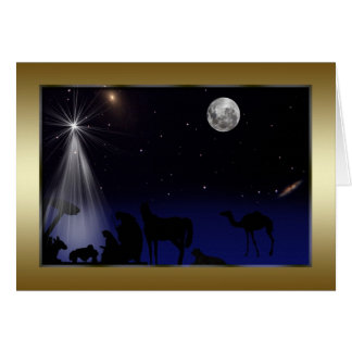 Christmas, Religious, Nativity, Stars, Moon Greeting Card