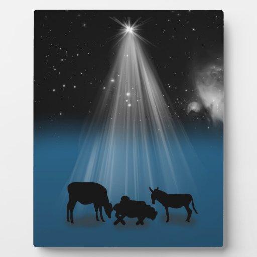 Christmas, Religious, Nativity, Stars, Plaque