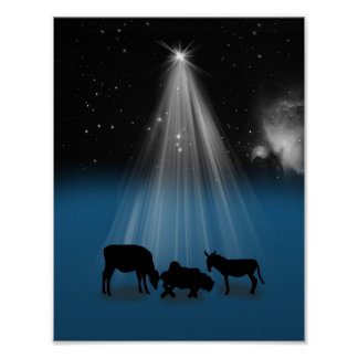 Christmas, Religious, Nativity, Stars, Print